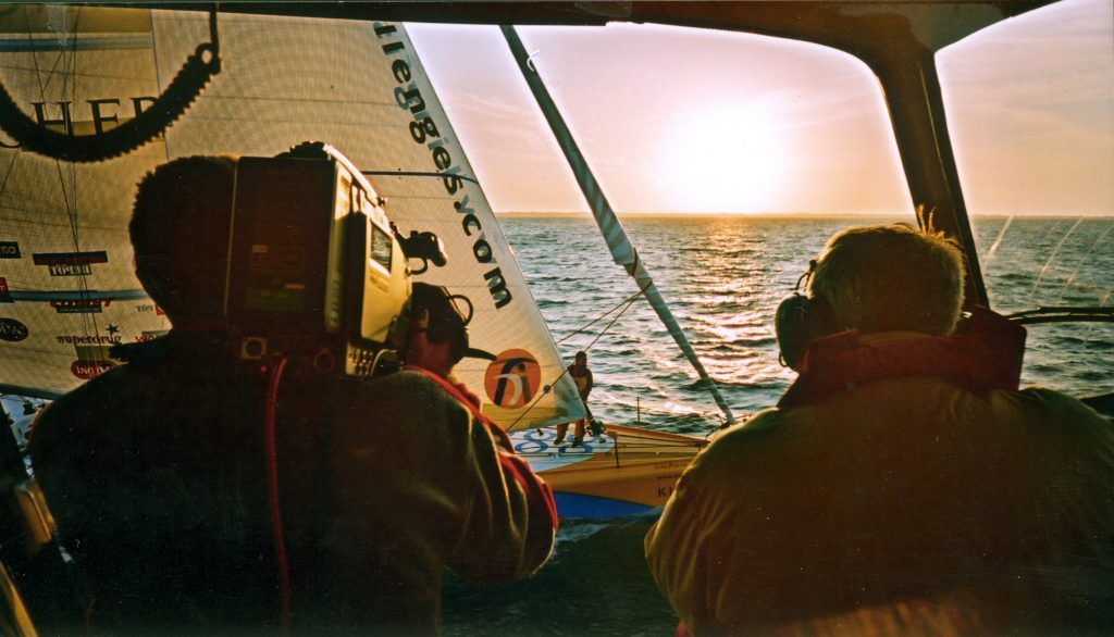 Tim Butt Cameraman Ellen Macarthur sailing Kingfisher IMOCA60 Vendee Globe Thierry Martinez
